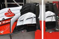 Ferrari SF71H, dettaglio dell'ala anteriore a confronto con quello del GP di Austin del 2017