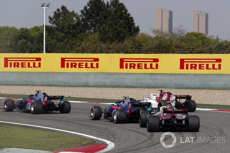 Brendon Hartley, Toro Rosso STR13 Honda, Marcus Ericsson, Sauber C37 Ferrari, Pierre Gasly, Toro Rosso STR13 Honda, e Charles Leclerc, Sauber C37 Ferrari