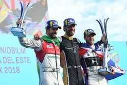 Jean-Eric Vergne, Techeetah, celebrates with Lucas di Grassi, Audi Sport ABT Schaeffler, Sam Bird, DS Virgin Racing, on the podium
