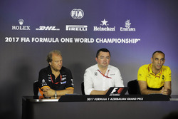 Bob Fernley, Deputy Team Principal, Force India, Eric Boullier, Racing Director, McLaren, Cyril Abiteboul, Managing Director, Renault Sport F1 Team, in the Team Principals' Press Conference