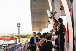 Third place Daniel Ricciardo, Red Bull Racing, Race winner Lewis Hamilton, Mercedes AMG F1, Max Verstappen, Red Bull, second place, on the podium