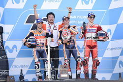 Podium: Race winner Marc Marquez, Repsol Honda Team, second place Dani Pedrosa, Repsol Honda Team, third place Jorge Lorenzo, Ducati Team
