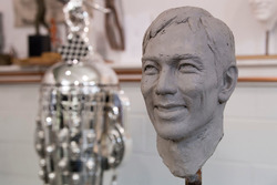 Borg-Warner Trophy bust of Takuma Sato