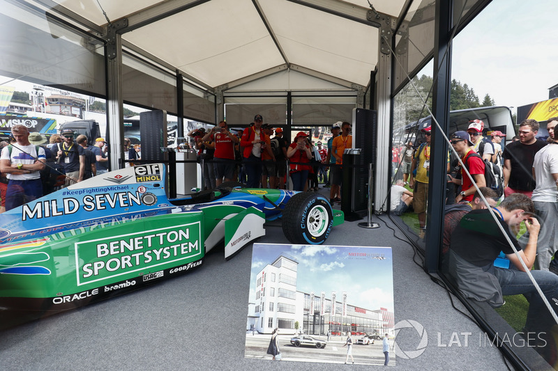 A Benetton B194 driven by Michael Schumacher in 1994 on display in the F1 Fanzone