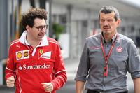 Mattia Binotto, Ferrari Chief Technical Officer and Guenther Steiner, Haas F1 Team Principal