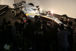 Sergio Perez is interviewed in front of the Sahara Force India VJM10