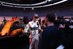 Stoffel Vandoorne, McLaren, is interviewed by the media