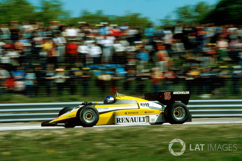 3º Patrick Tambay, Renault RE50, Dijon 1984. Tiempo: 1:02.200