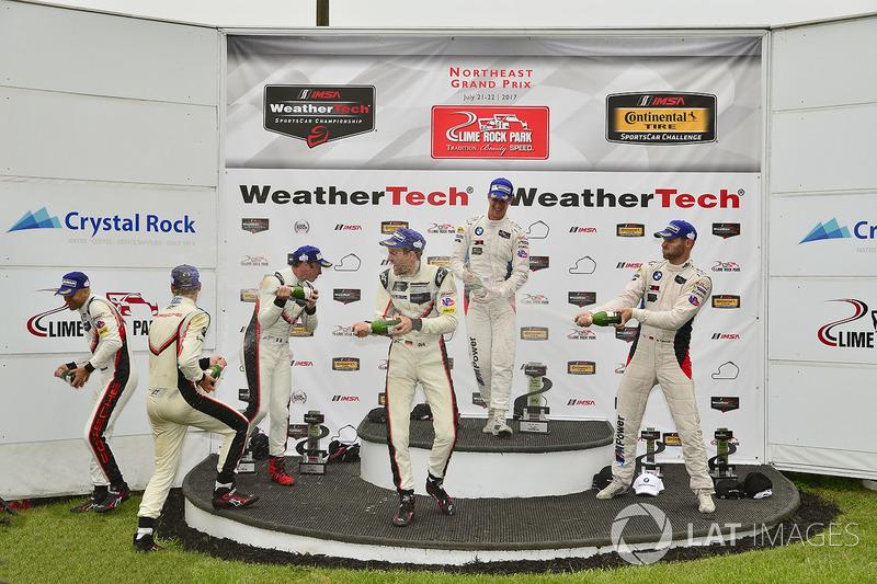 GTLM Podio: ganadores carrera Patrick Pilet, Dirk Werner, Porsche Team, segundo lugar Gianmaria Bruni, Laurens Vanthoor, Porsche Team, tercer lugar John Edwards, Martin Tomczyk, BMW Team RLL