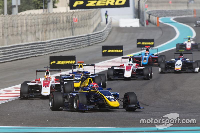 Santino Ferrucci, DAMS leads Charles Leclerc, ART Grand Prix