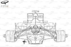 Ferrari F150 chassis, front view, outline drawing