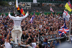 Race winner Lewis Hamilton, Mercedes AMG F1, celebrates a home race victory, the fans