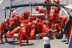 Sebastian Vettel, Ferrari SF70H, makes pit stop for a change of nose