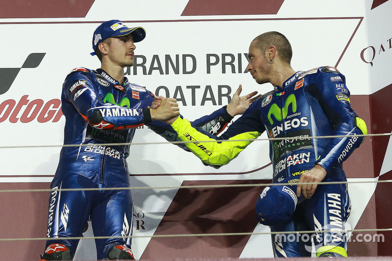Podium: 1. Maverick Viñales, Yamaha Factory Racing; 3. Valentino Rossi, Yamaha Factory Racing