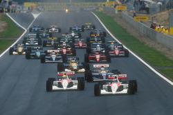 Gerhard Berger, McLaren MP4/6 Honda leads Ayrton Senna, McLaren MP4/6 Honda, Nigel Mansell, Williams FW14 Renault, Michael Schumacher, Benetton B191 Ford, Riccardo Patrese Williams FW14 Renault, Jean Alesi, Ferrari 643 at the start