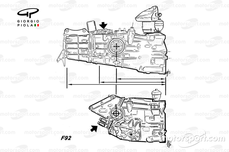 Ferrari F92A gearboxes comparison
