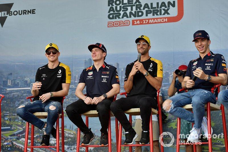 Nico Hulkenberg, Renault F1 Team, Max Verstappen, Red Bull Racing, Daniel Ricciardo, Renault y Pierre Gasly, Red Bull Racing