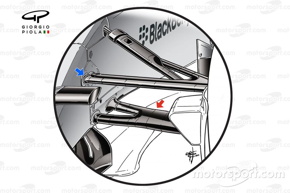 Detalle de la suspensión delantera del Mercedes W05.