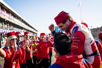 Jérôme d'Ambrosio, Mahindra Racing, celebrates victory with the Mahindra Racing team
