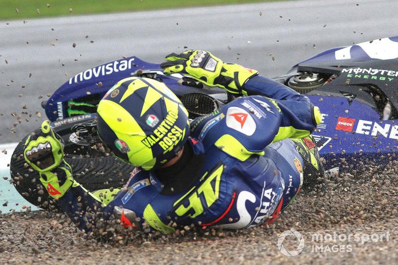 Valentino Rossi, Yamaha Factory Racing caída