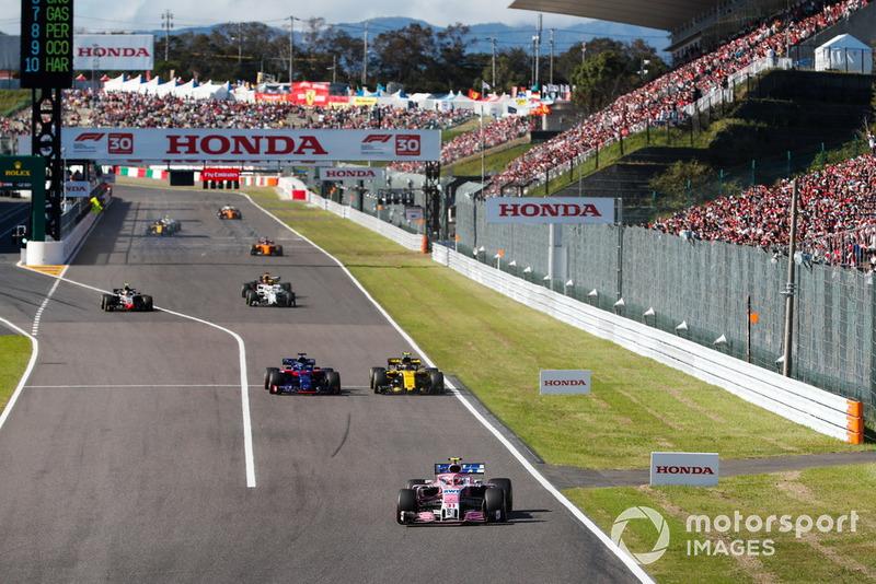 Esteban Ocon, Racing Point Force India VJM11, Brendon Hartley, Toro Rosso STR13, Carlos Sainz Jr., Renault Sport F1 Team R.S. 18, y Kevin Magnussen, Haas F1 Team VF-18