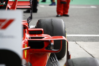 Back right tyre of Kimi Raikkonen, Ferrari SF71H in parc ferme
