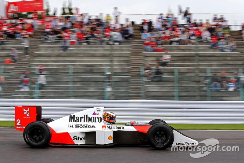 Stoffel Vandoorne, third driver, McLaren F1 Team drives the 1989 McLaren MP4/5 of Alain Prost