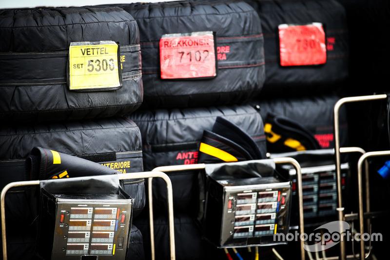 Tyre blankets for the Ferrari team