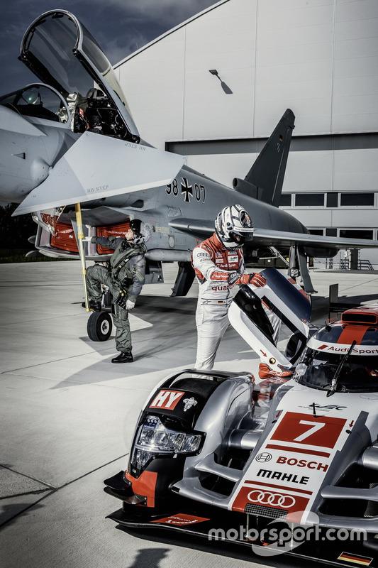 Testpilot Geri Krähenbühl mit Andre Lotterer, Audi Sport Team Joest