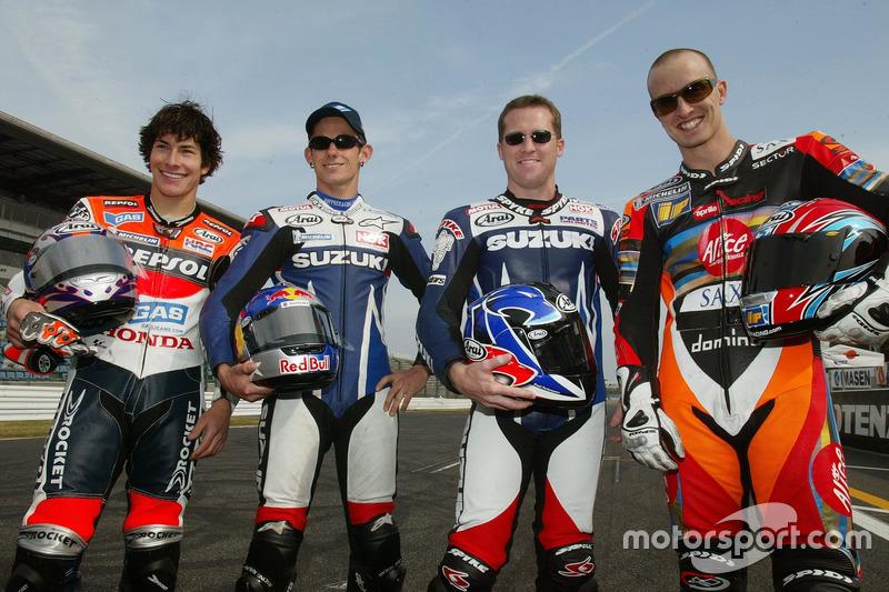 Nicky Hayden, Repsol Honda Team, John Hopkins, Team Suzuki, Kenny Roberts Jr., Team Suzuki, Colin Edwards, Aprilia Racing