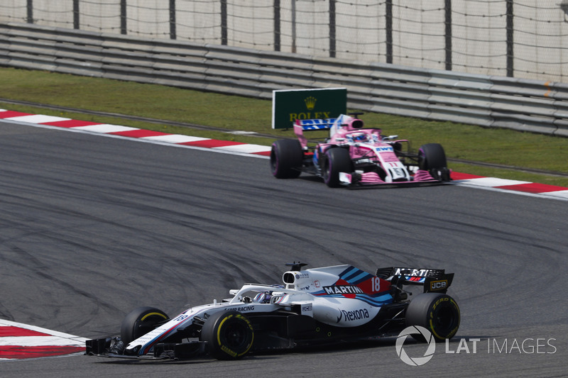 Lance Stroll, Williams FW41 Mercedes, Sergio Perez, Force India VJM11 Mercedes