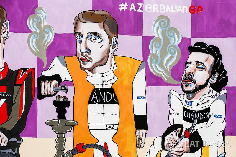 Гран Прі Азербайджану: малюнок Стоффеля Вандорна, Фернандо Алонсо, McLaren