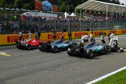 Lewis Hamilton, Mercedes AMG F1, Sebastian Vettel, Ferrari and Valtteri Bottas, Mercedes AMG F1 celebrate in parc ferme