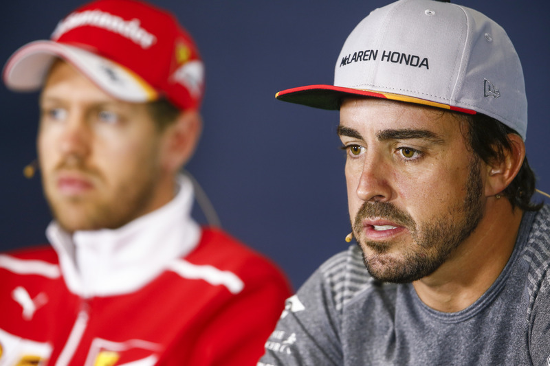Sebastian Vettel, Ferrari, Fernando Alonso, McLaren, in the press conference