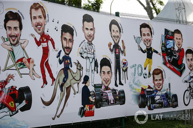 Gran Premio de Singapur: caricaturas de los pilotos.