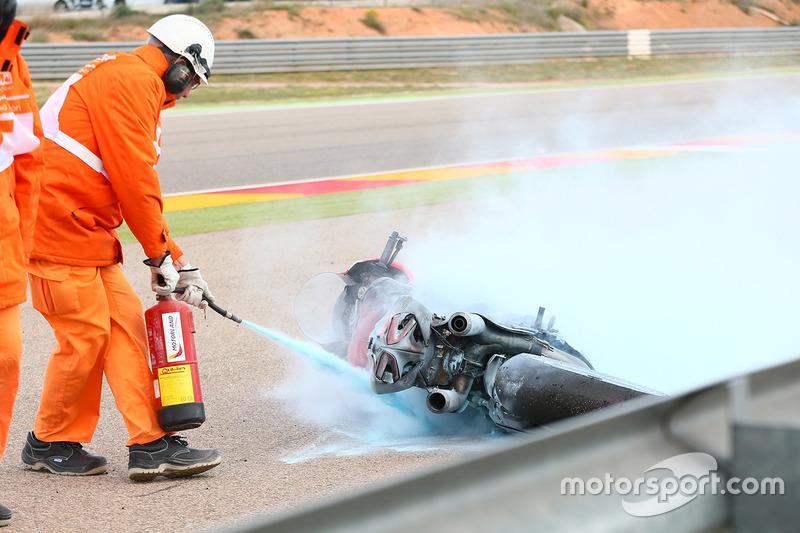 Bike von Xavi Forés, Barni Racing Team, nach Feuer