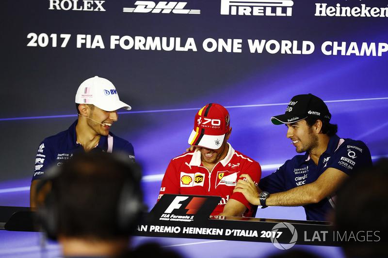 Прес-конференція: Есбеан Окон, Force India, Себастьян Феттель, Ferrari, Серхіо Перес, Force India
