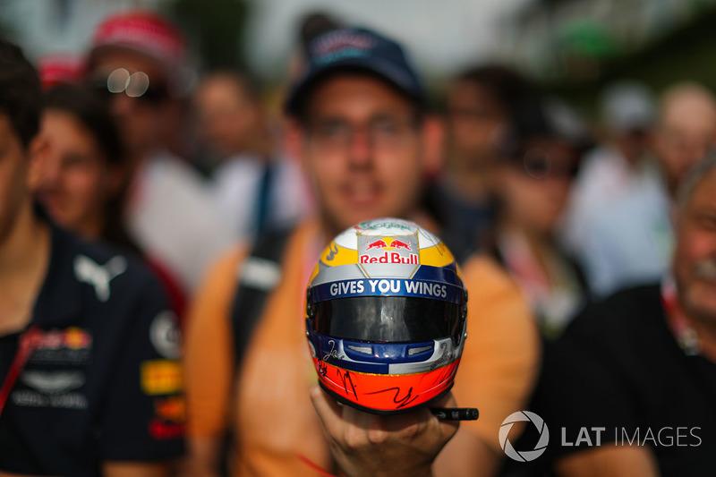 Fans, atmosphere and model Red Bull Racing Helmet