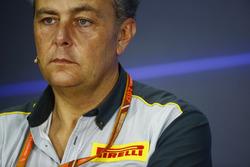 Mario Isola, Racing Manager, Pirelli Motorsport, tijdens de persconferentie