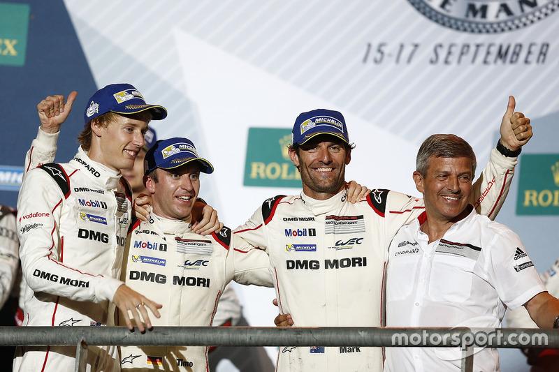 Podium: race winners Timo Bernhard, Mark Webber, Brendon Hartley, Porsche Team, Fritz Enzinger, Vice