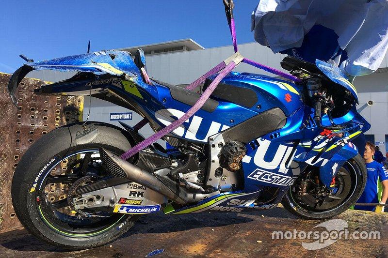 MOTO GP 2019 COMPÉTITIONS Bike-of-joan-mir-team-suzuki-motogp-after-his-crash-1