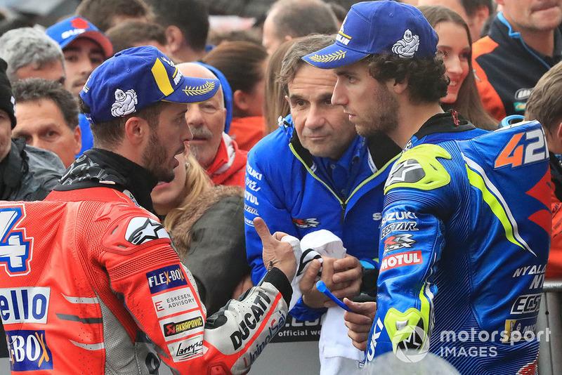 Race winner Andrea Dovizioso, Ducati Team, second place Alex Rins, Team Suzuki MotoGP