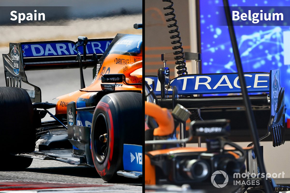 McLaren MCL35 comparison Spain vs Belgium