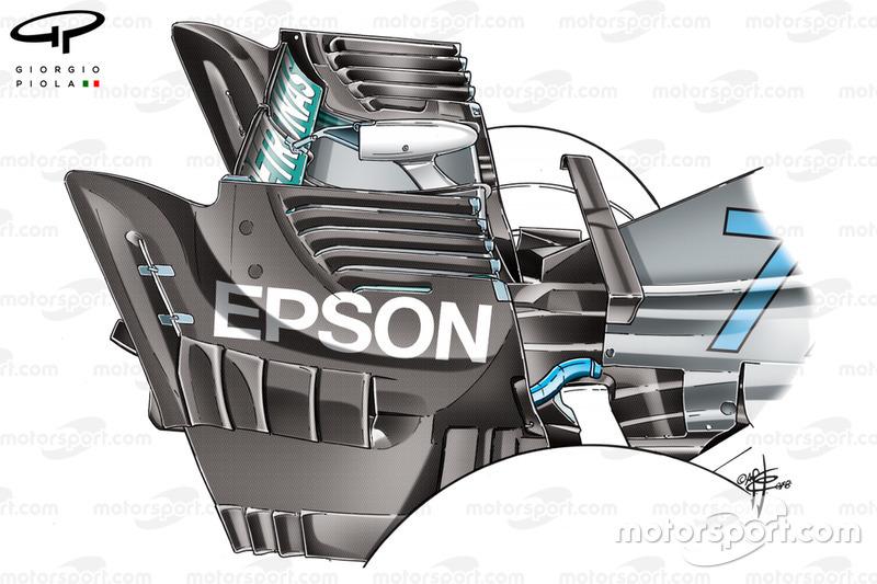 Dérives d'aileron arrière de la Mercedes W09, GP de Singapour