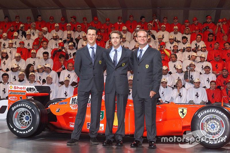 Міхаель Шумахер, Лука Бадоер, Рубенс Баррікелло і Ferrari F2001