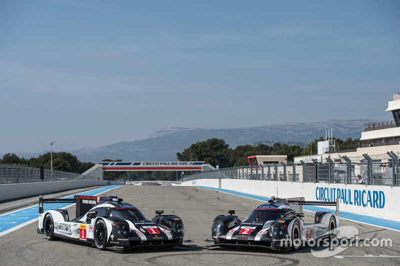 #1 Porsche Team Porsche 919 Hybrid: Timo Bernhard, Mark Webber, Brendon Hartley and #2 Porsche Team