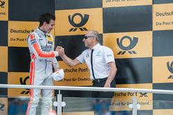 Podium, Robert Wickens Mercedes-AMG Team HWA, Mercedes-AMG C63 DTM, congrats his former team boss Peter Mücke, Mercedes-AMG Team Mücke