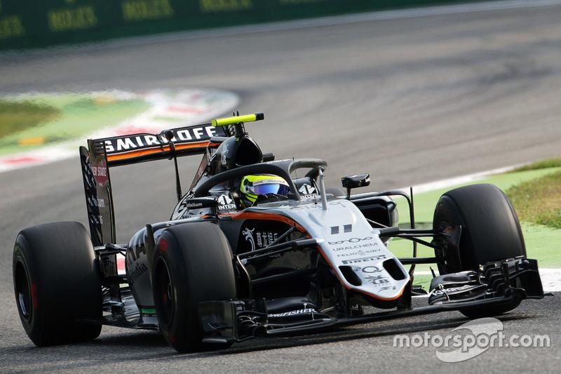 Sergio Perez, Sahara Force India F1 VJM09, con il dispositivo Halo