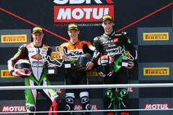 Podium: Race winner Koen Meuffels, second place Scott Deroue, third place Mika Pere