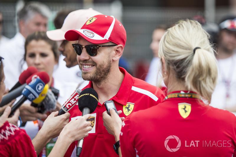 Sebastian Vettel, Ferrari talks with the media